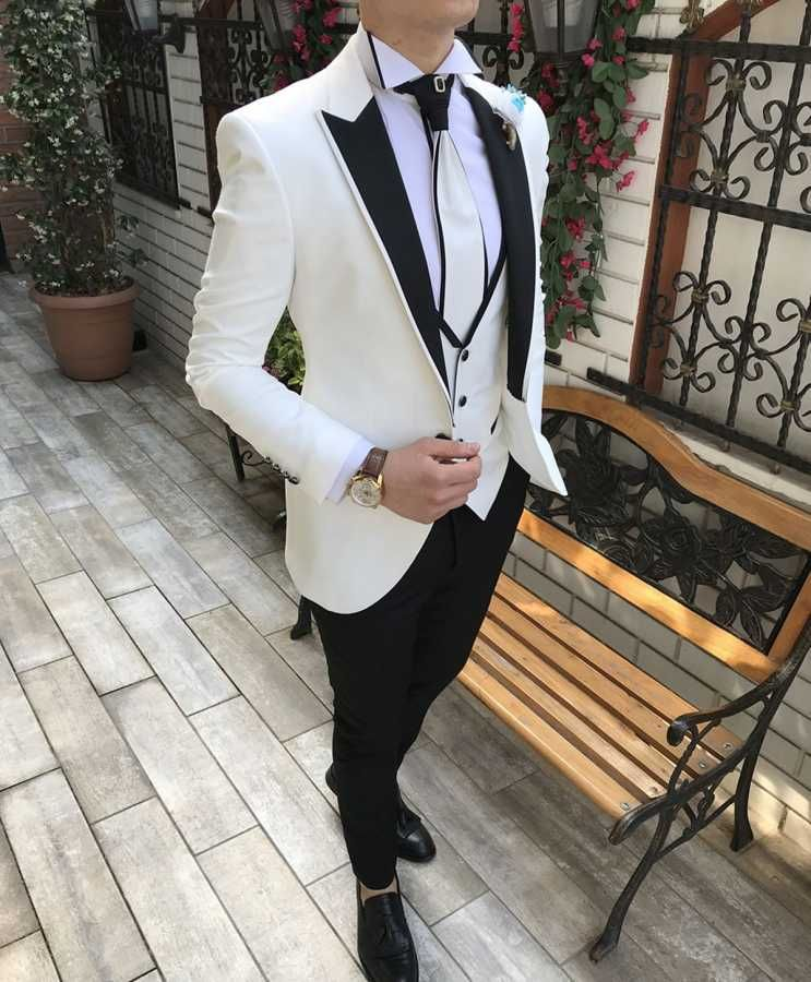 Italyan Kesim Ceket Yelek Pantolon Gomlek Beyaz Damatlik Set T2567 Siyah Takim Elbise Takim Elbise Erkek Giysileri