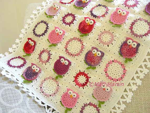 Owl Blanket Crochet Pattern Fantasy Newborn Baby Colorful Kids Baby