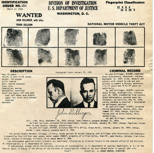 John Dillinger wanted poster and criminal record from 1934 - criminal wanted poster