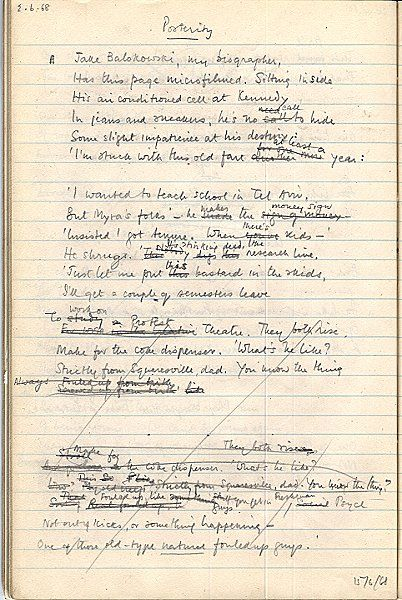 "Philip Larkin - Manuscript page, ""Posterity,"" a poem also collected in ""High Windows"""