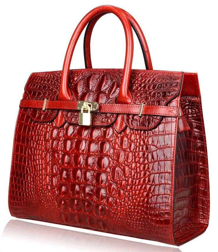 b3f4ec2f8b46 Pijushi Classic Embossed Crocodile Purse Genuine Leather Office Ladies  Handbags Satchel Padlock Tote Bag