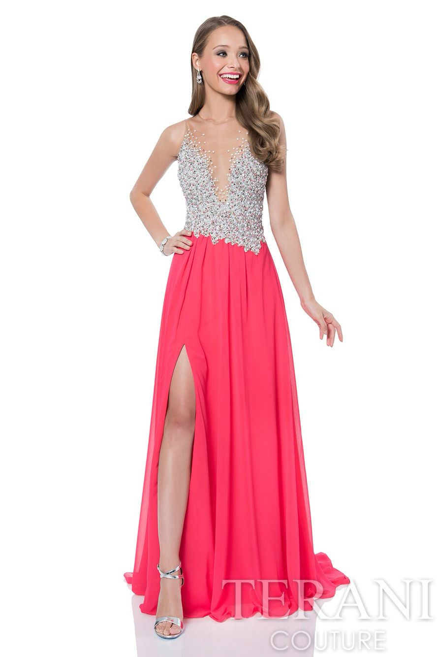 191a68996cde Terani Couture. Style number: 1612P0502 Comes in various colors such as:  aqua, silver, ivory mint and coral. Comes in sizes 0-24