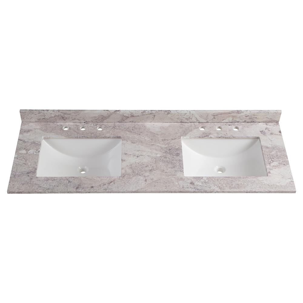 Home Decorators Collection 61 In W Stone Effects Double Sink Vanity Top In Winter Mist Se6122r Wm The Home Depot In 2021 Double Sink Vanity Top Double Sink Vanity Double Vanity Tops 61 vanity top single sink
