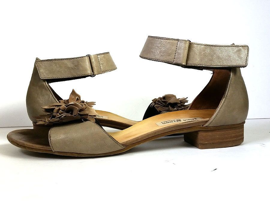 abee4baf257  285 PAUL GREEN SANDALS 10 Taupe Leather Ankle Strap Floral Sandals  PRIMO   10M