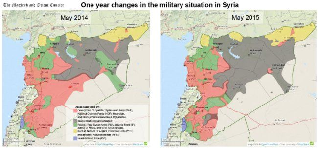 These maps show what isis has achieved in the last year syria and isis map syria 1 year gumiabroncs Gallery