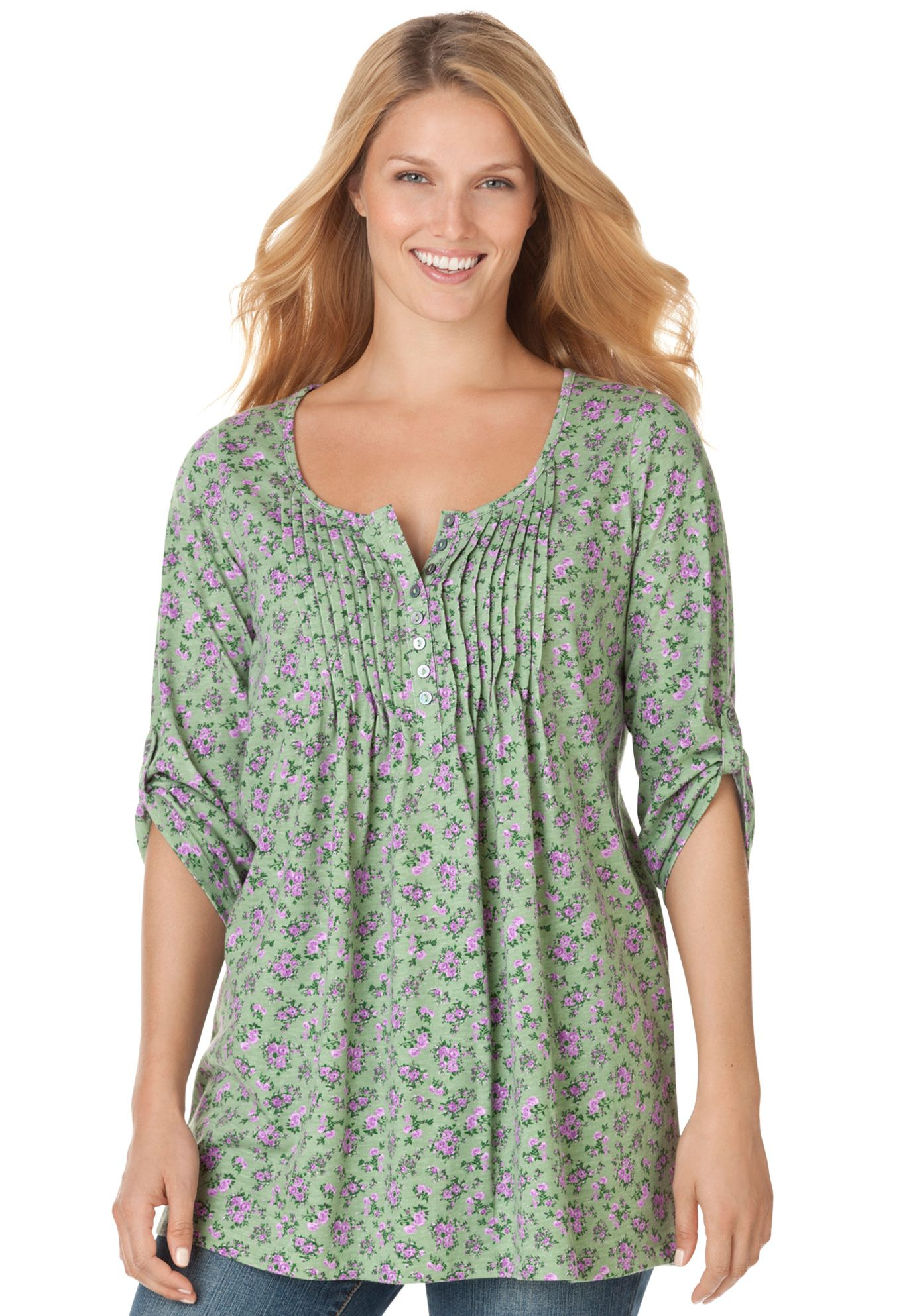 Plus Size Tunic top with graduated pleats, floral print, Henley ...