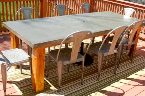 Rustic Patio Table Concrete Top Inlay Outdoor