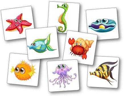 Un jeu de mémoire original et amusant pour les plus petits autour des animaux de la mer : poissons et crustacés. Le but du jeu du memory poisson est de