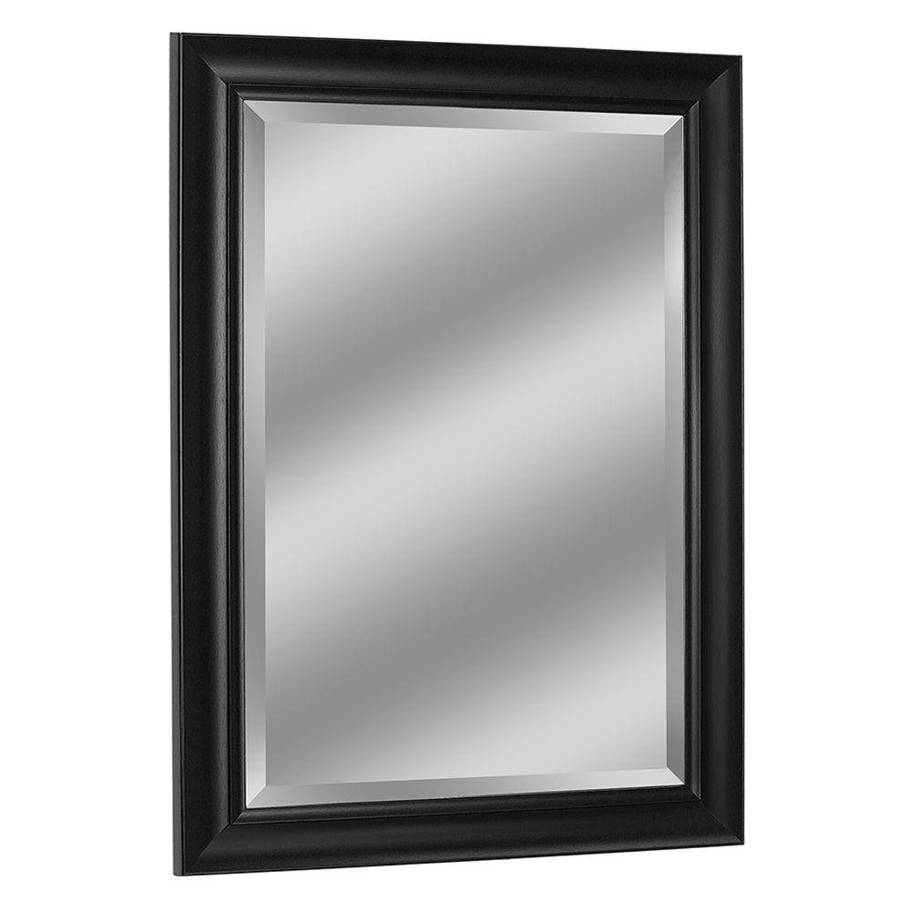 Deco Mirror 37 In W X 47 In H Framed Rectangular Beveled Edge Bathroom Vanity Mirror In Black 6245 The Home Depot Framed Mirror Wall Contemporary Wall Mirrors Black Wall Mirror