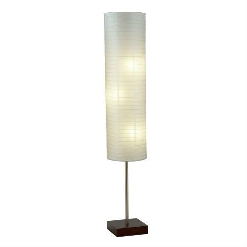 Modern Asian Style Floor Lamp With White Rice Paper Shade With