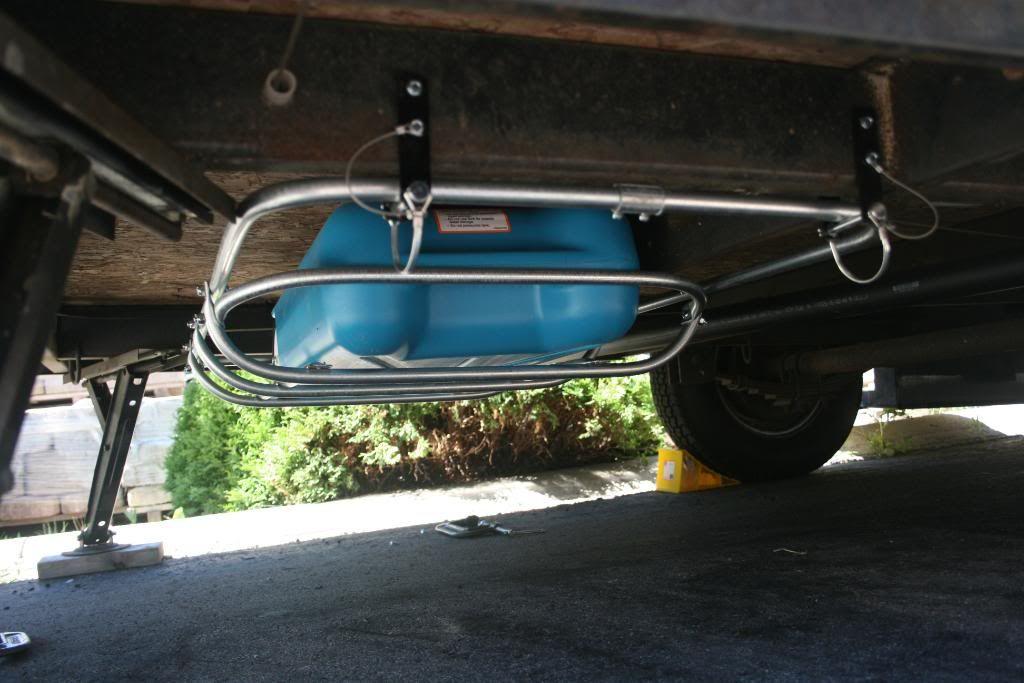 Storage Rack For Wastewater Tote Under Floor Trailer Camping Hacks Travel Trailer Camping Trailer Storage