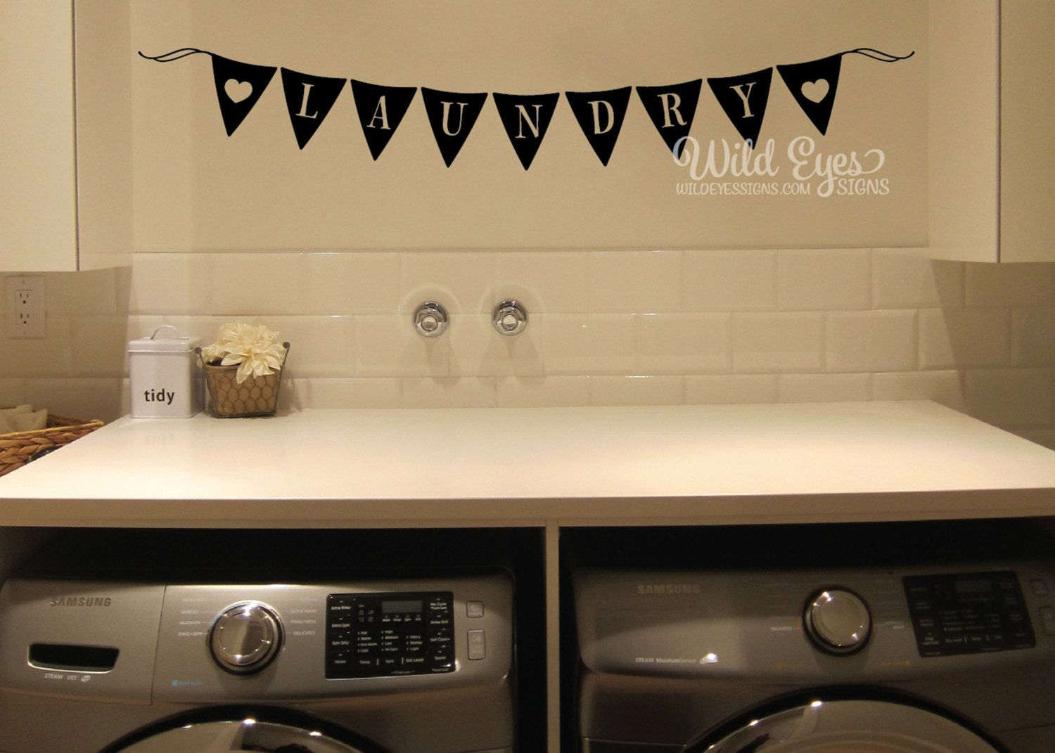 Laundry Wall Decal, Laundry Sign, pennant banner, Flag Banner ...