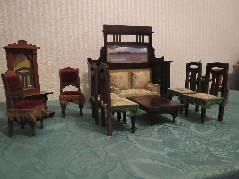 antike m bel f puppenstube puppenhaus um 1900 sofa st hle tisch pfeilerspiegel ebay. Black Bedroom Furniture Sets. Home Design Ideas