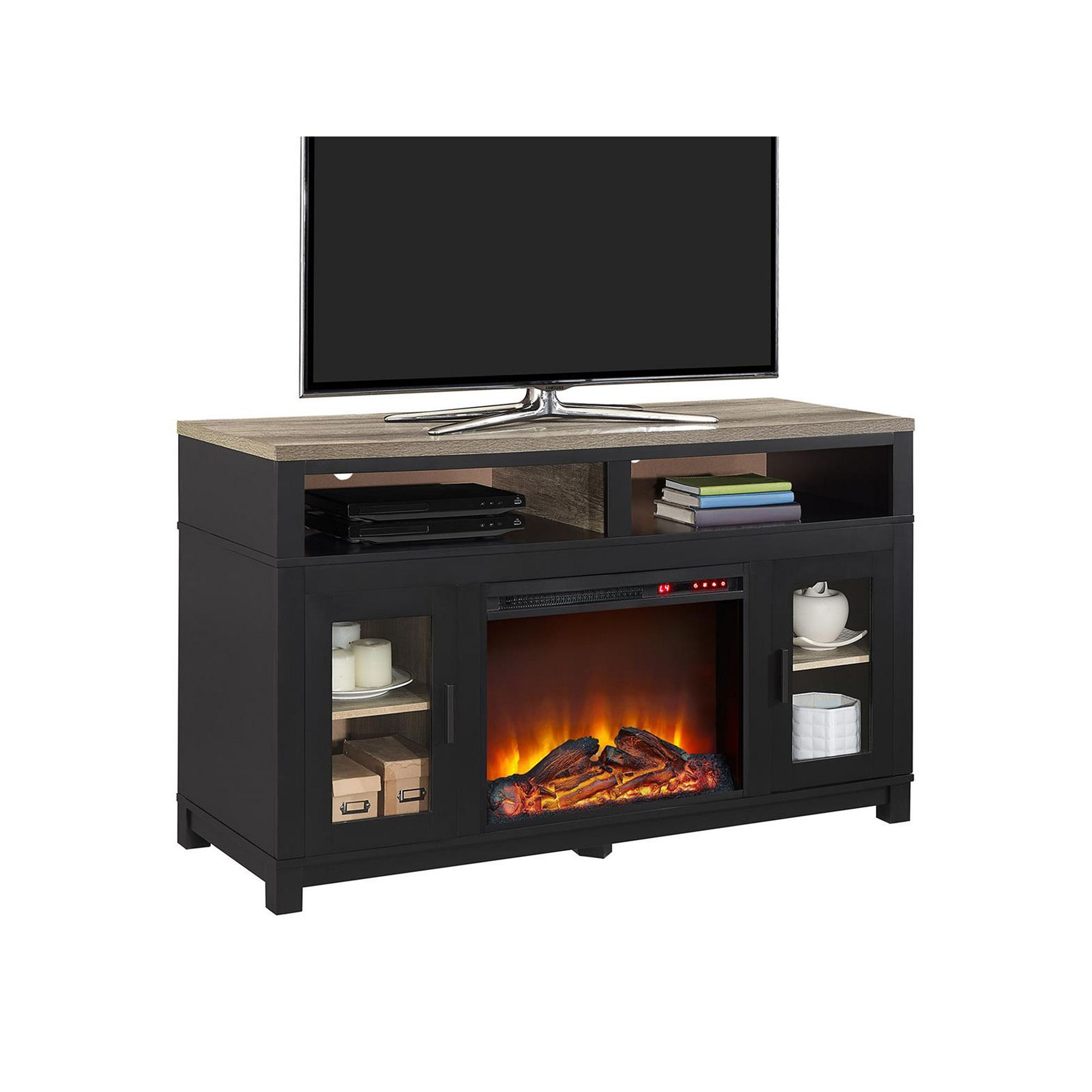 ameriwood carver electric fireplace tv stand grey products
