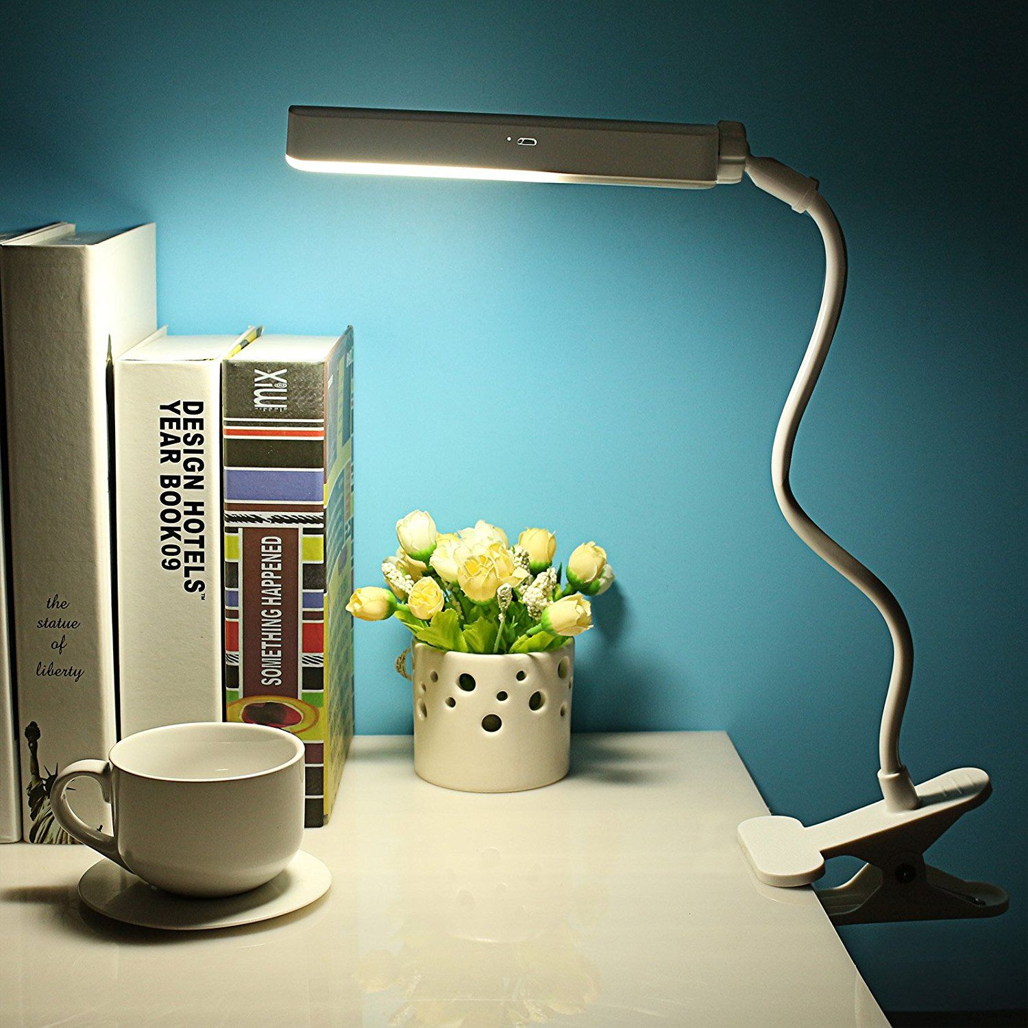 Byb Dimmable Clamp On Table Lamp Rechargeable Multipurpose Gooseneck Clip Light With Removable Design Stepless Dimming Touch Con Lamp Led Desk Lamp Desk Lamp