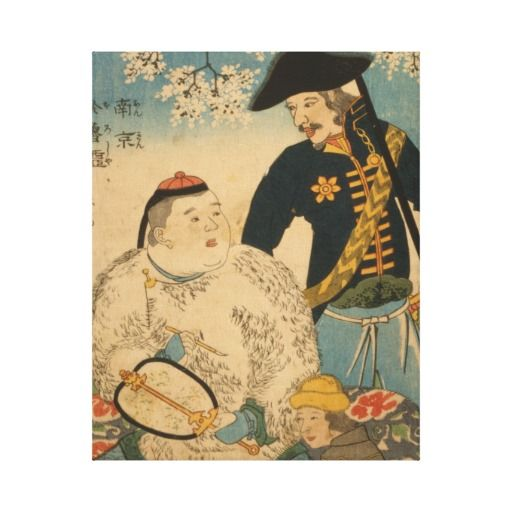 Chinese Man with Paintbrush and Russian Officer by Hiroshige circa 1826-1879 on premium wrapped canvas #art #vintage #japan #japanese #horse #zazzle Elegant Japanese vintage art images for your home, office, or business.