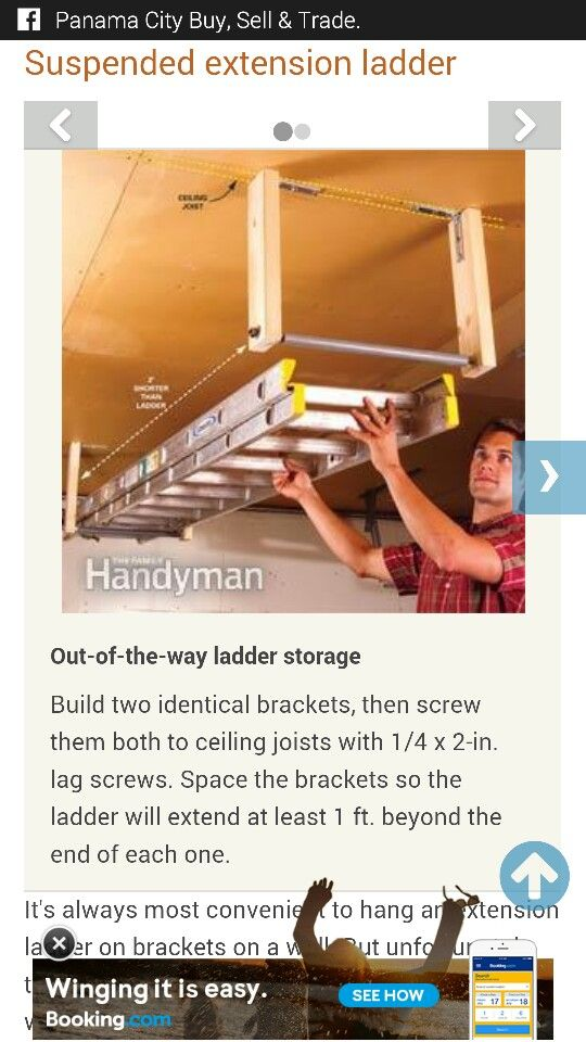 Out Of The Way Ladder Storage With Images Ladder Storage Built In Storage