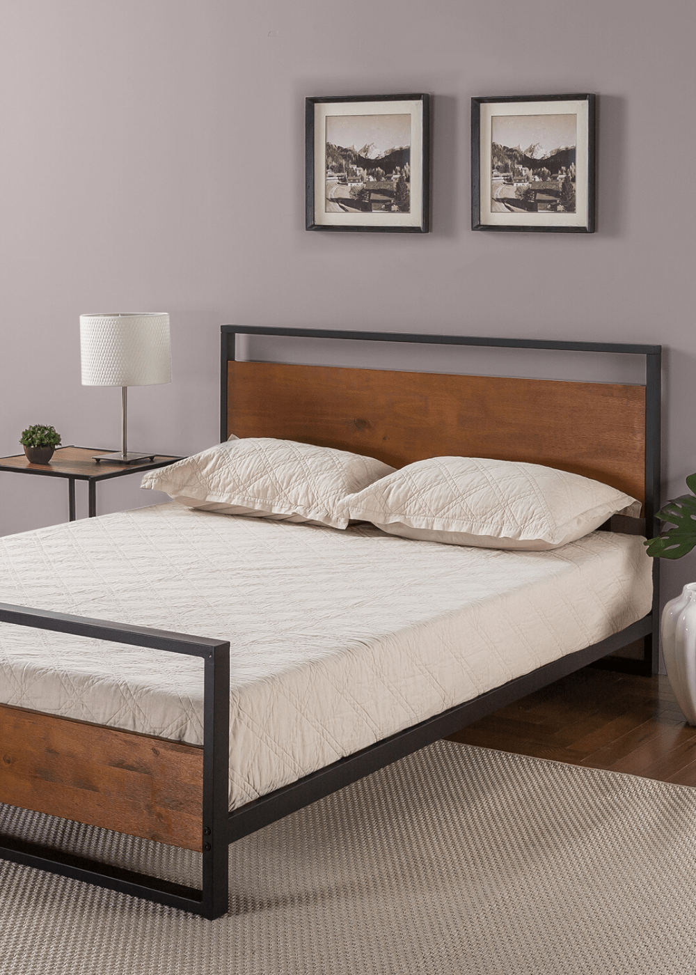 Zinus Suzanne Metal And Wood Platform Bed With Headboard And