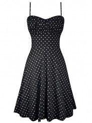 """Women's """"Polka Dot"""" Swing Dress by Double Trouble Apparel (Black)"""
