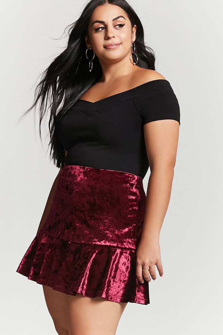 plus size crushed velvet skirt | plus size inspiration | pinterest