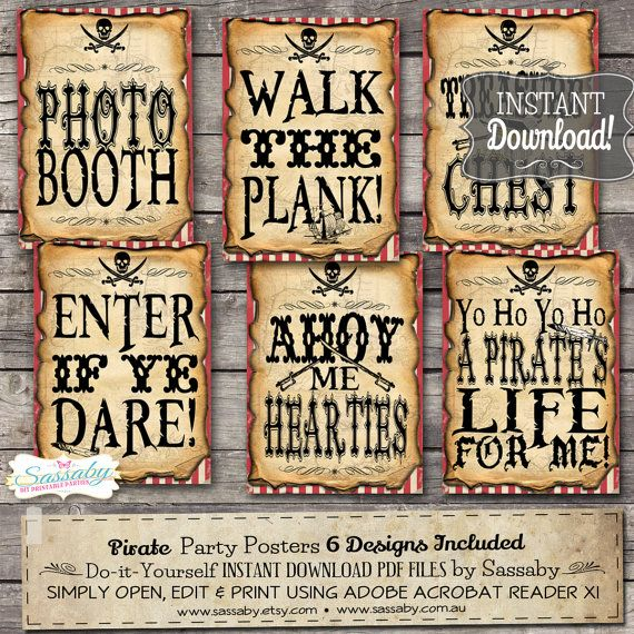 6 Pirate Party Signs\/Posters INSTANT DOWNLOAD by Sassaby on Etsy - printable wanted posters