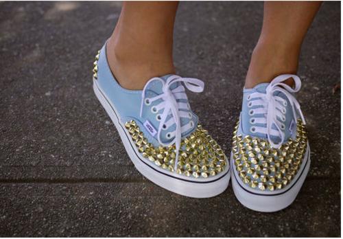 Custom embellished studded shoes! Simply fab