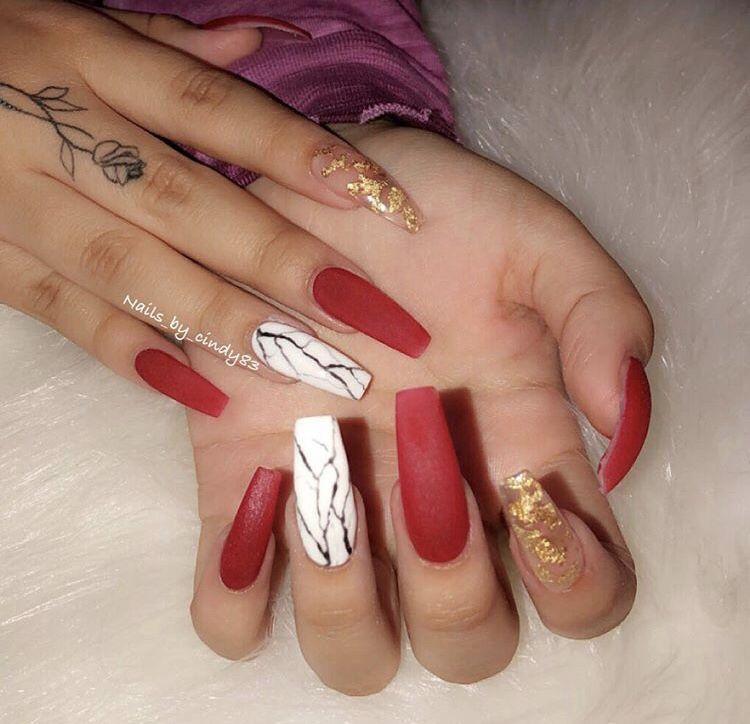 Acrylic Nails Gold Acrylic Nails Red Acrylic Nails Coffin Nails Designs