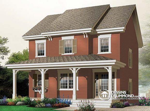 W2789 - Plan de Modèle champêtre 2 étages avec 3 chambres \ grande