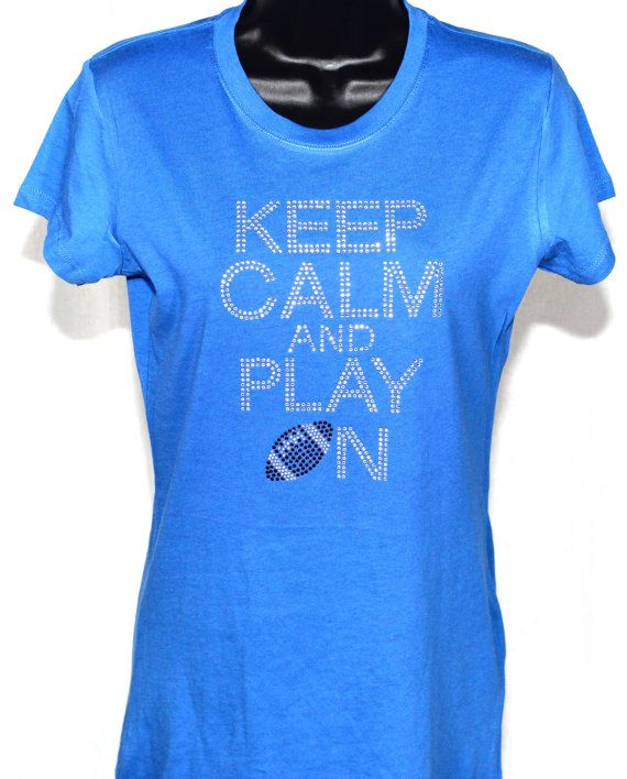 LAST CALL - Keep Calm and Play On Football Bling Rhinestone T-shirt (Size LG)l by 1stRunLastCallBling, $14.99