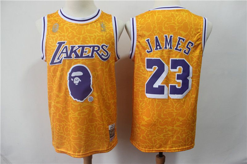 size 40 1985f 8df73 Lakers #23 Lebron James Yellow Hardwood Classics Jersey ...