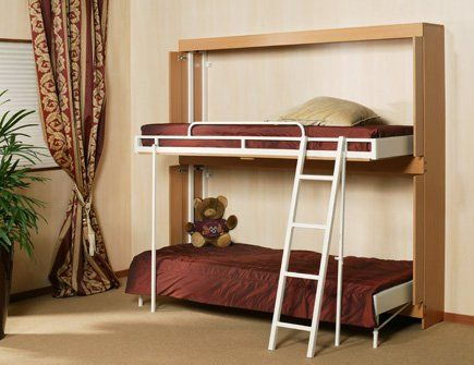 Wall mounted hinged bunk beds the wiskaway 9000 wall for Portable bed ideas