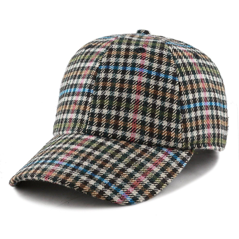 d747569d332 Unisex Wool Blend Baseball Cap Hat with Adjustable Buckle Closure - Plaid 34  - CO187U38A33 - Hats   Caps