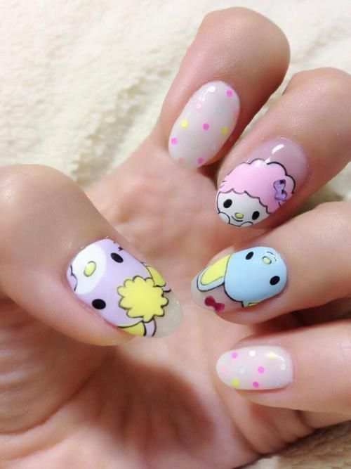 Kawaii free hand nail art: | See more nail designs at http:// - 9 Cute Kawaii Nail Art Designs With Pictures Nails Pinterest