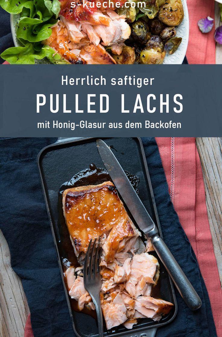 Pulled Lachs - Wintersalat mit gerösteten Rosenkohlblättern