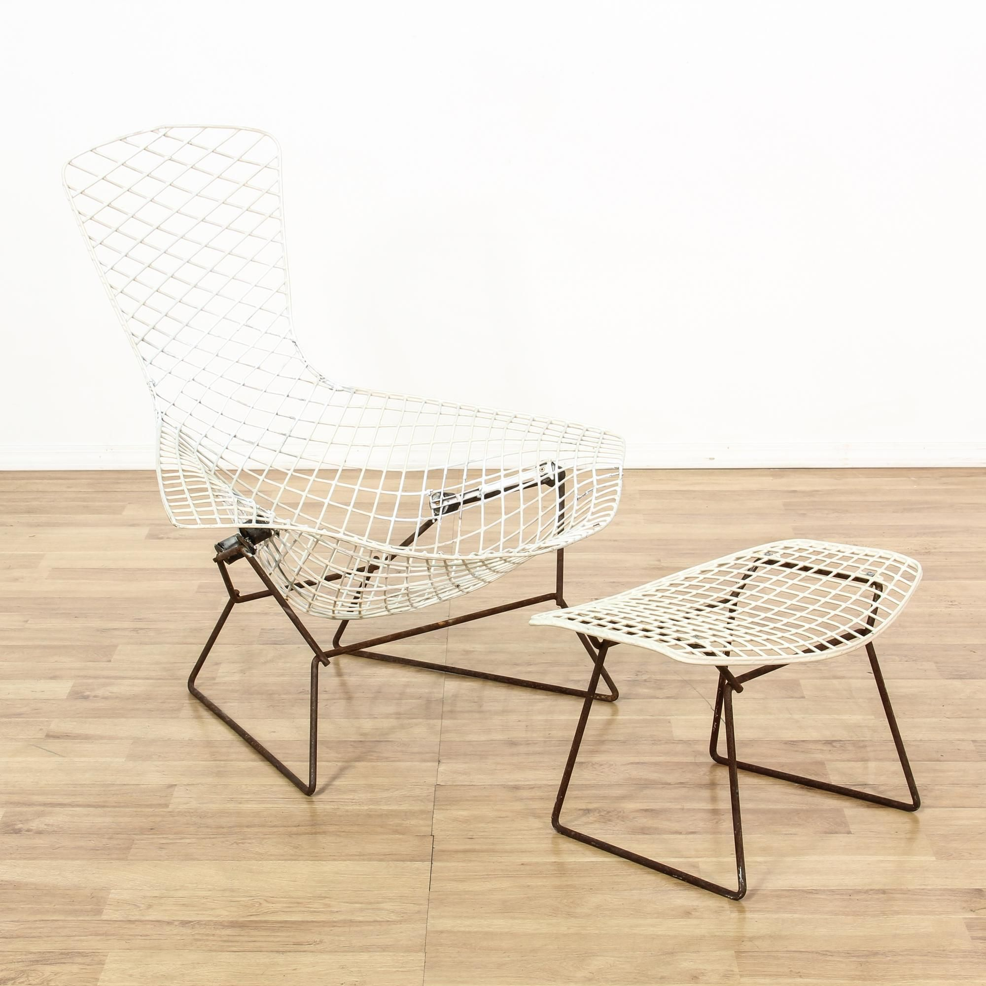 This Harry Bertoia Style Bird Wire Chair & Footstool Are