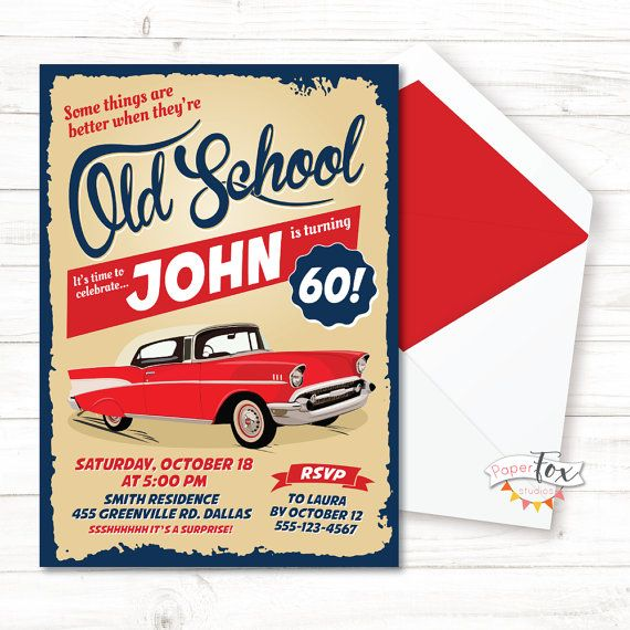 60th Birthday Invitation 70th For Men Classic Car Invite PRINTABLE