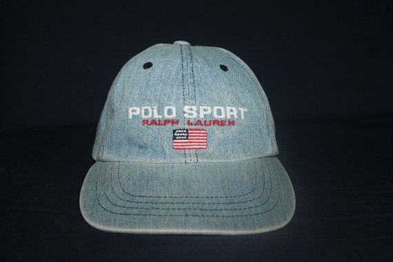 Vintage Polo Sport Ralph Lauren USA Flag Denim Cap Hat Golf Ski Spell Out 0c910439ab1