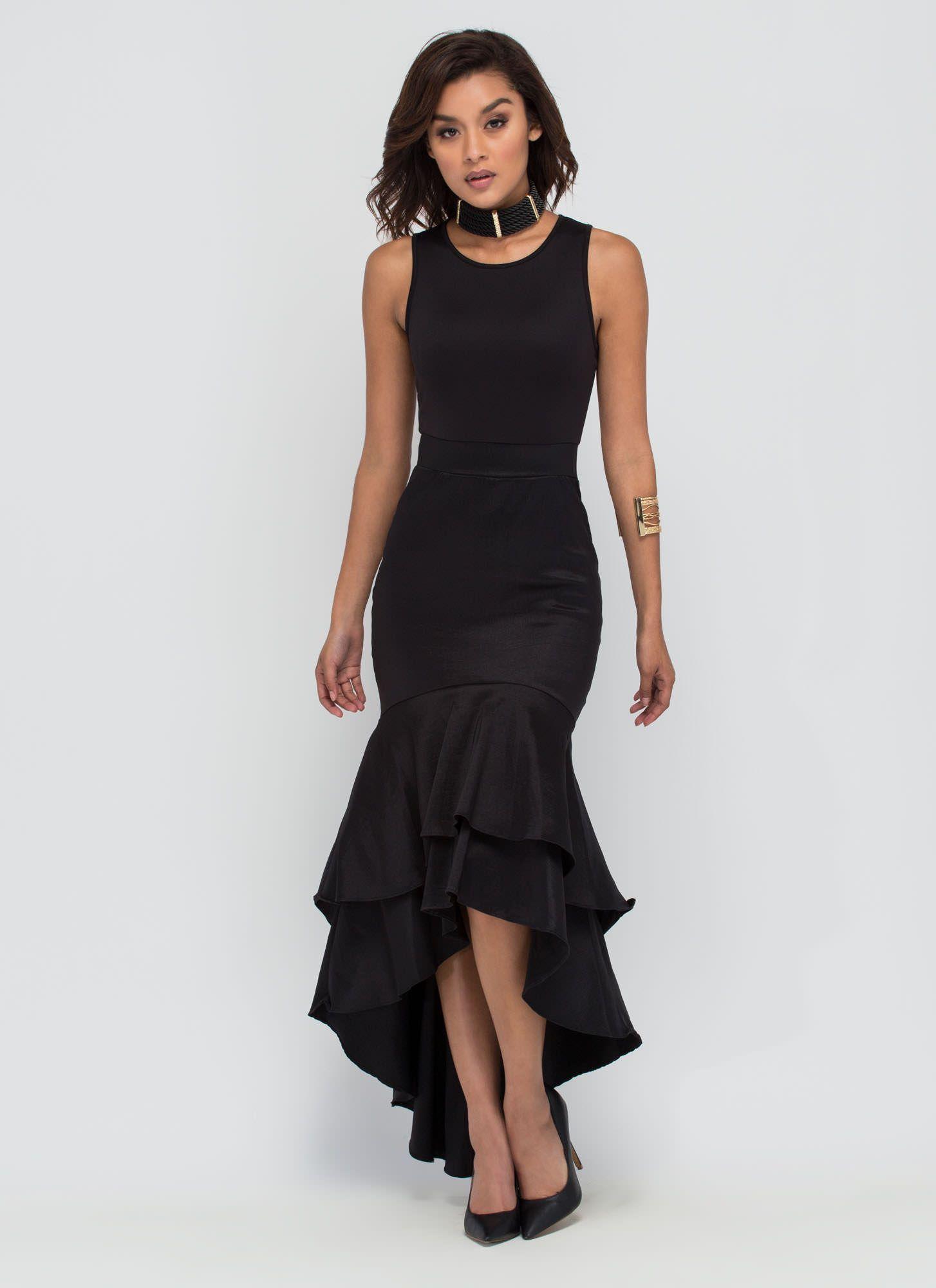 Standing Ovation High Low Mermaid Dress Black White Dresses Black Dress Dress Skirt [ 2000 x 1454 Pixel ]