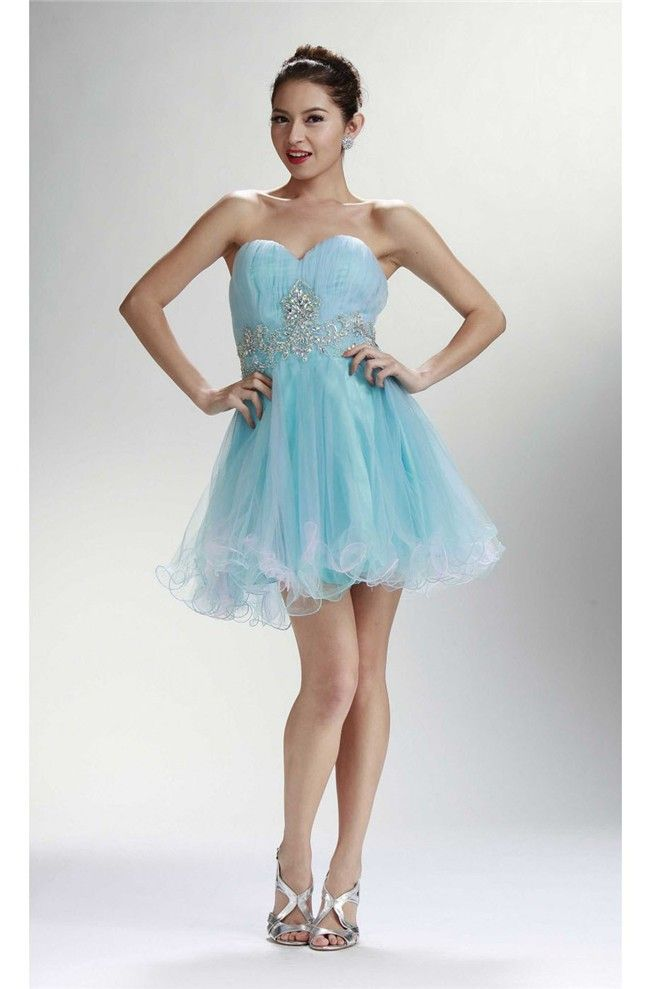 e876cbb1bfc8 Charming Strapless Short Mini Baby Blue Tulle Beaded Cocktail Prom Dress