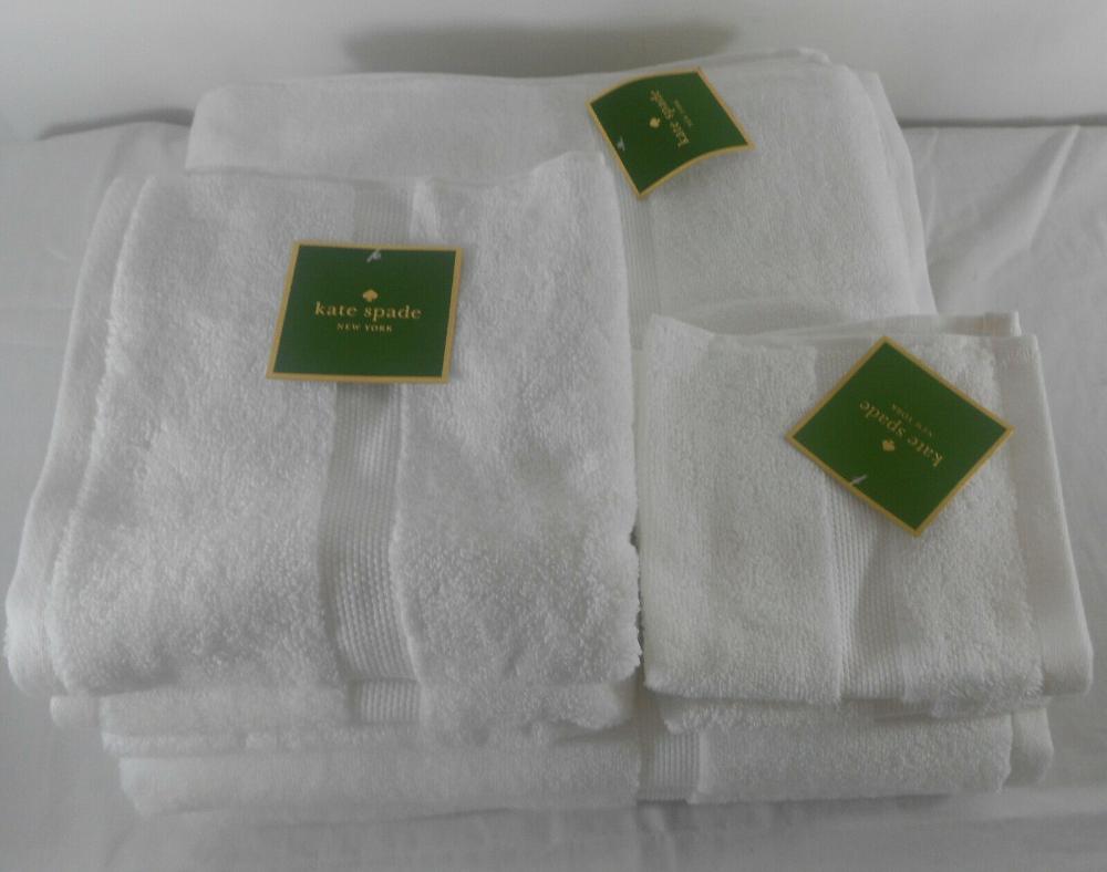 Kate Spade 7 Piece Bath Towel Set Chattam White 7% Cotton  eBay