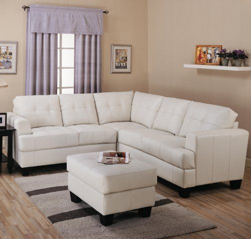 Samuel Collection Tufted Sectional In 100% White Bonded Leather By Toscana  Home Interiors. $2199.00