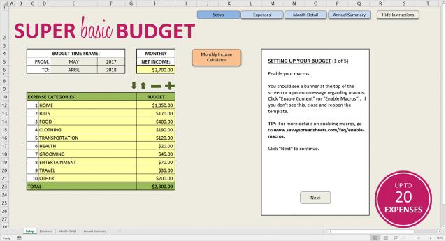 Super Basic Budget Excel Template Budget spreadsheet