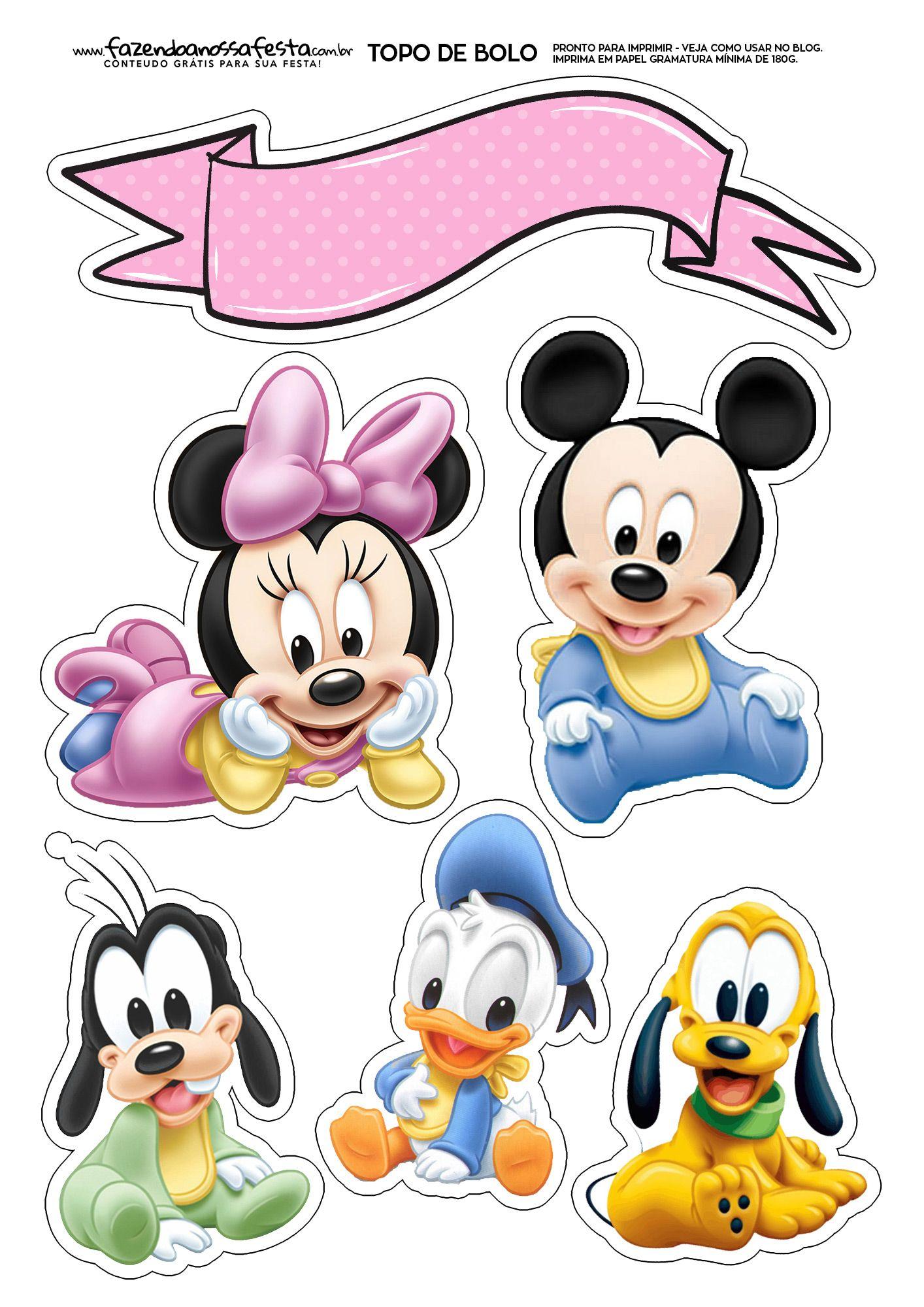 Topo De Bolo Minnie Baby Bolo Mickey Baby Mickey Mouse E Amigos