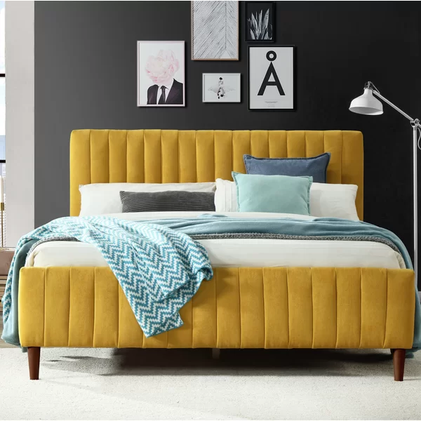 Currin Queen Upholstered Low Profile Platform Bed In 2020 Yellow Bedding Upholstered Platform Bed Queen Upholstered Beds