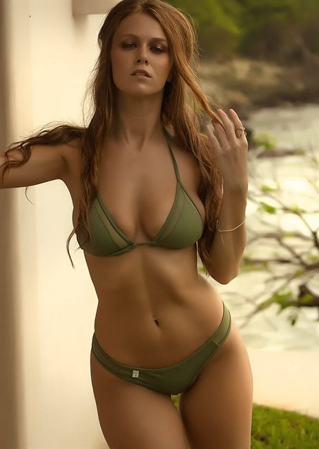 8d9901b901 TeenyB modernizes String Triangle Bikini Top adding mesh inserts. Featuring  adjustable cups, this stunning army green hue is a must-have for your bikini  ...