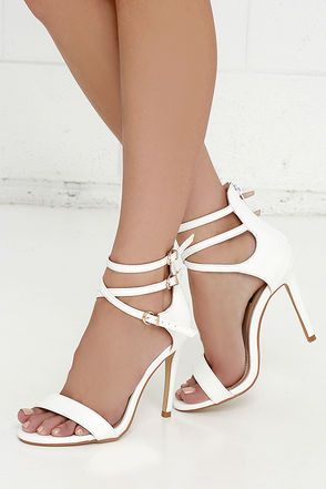 White Leather Ankle Strap Heels ($55) ❤ liked on Polyvore ...