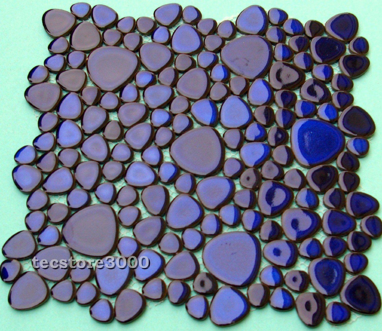 Mosaik Fliesen Kiesel Kieselmosaik Hochglänzend Blau
