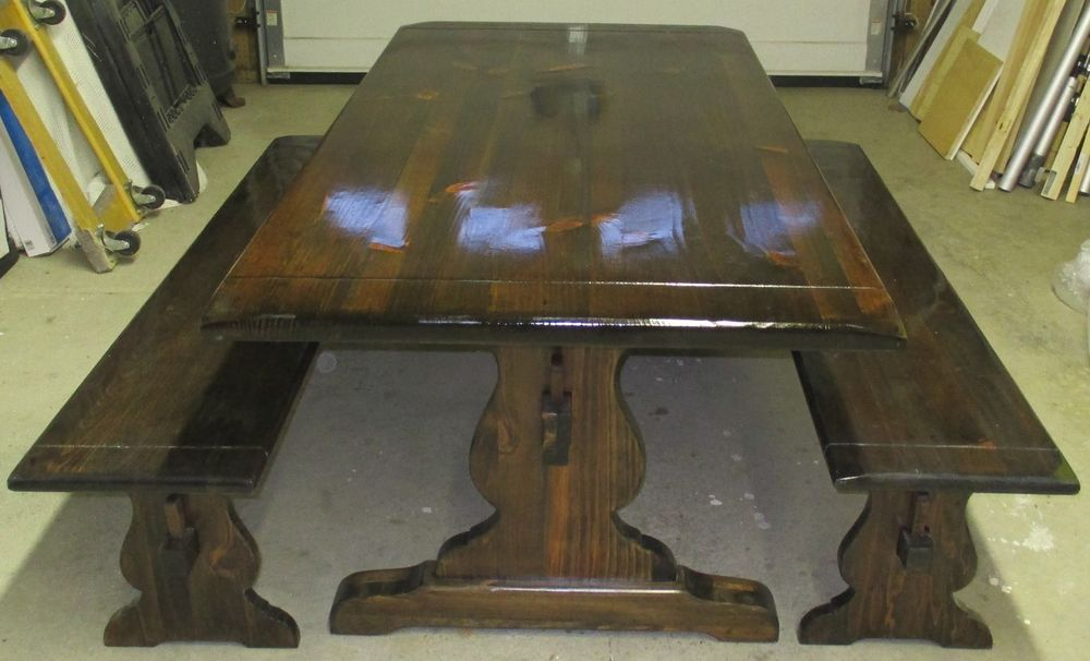 Ethan Allen Trestle Table And Benches Ethanallen Traditional