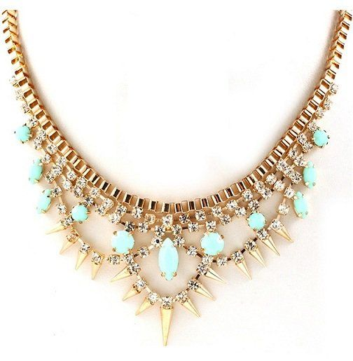 Mint Spiked Spangle Necklace from Obaz on Wanelo  20c9d25b25c3
