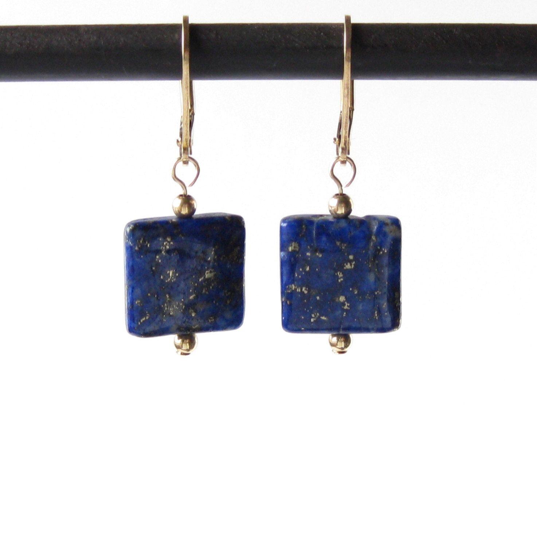 Lapis Lazuli 14k Gold Filled Earrings, Blue Lapis Earrings on 14k Gold Filled Leverback Ear Wires, Lapis Lazuli Earrings, Blue Earrings by AustinDowntoEarth on Etsy